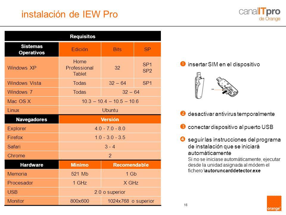 instalación de IEW Pro  insertar SIM en el dispositivo