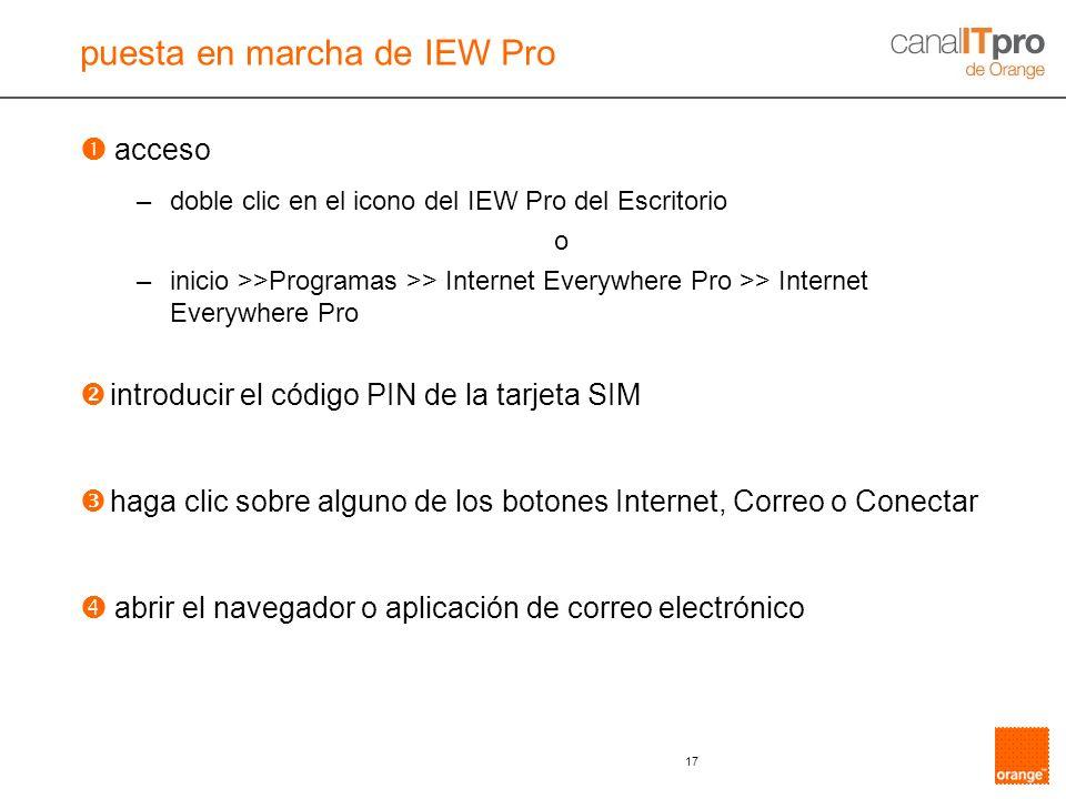 puesta en marcha de IEW Pro