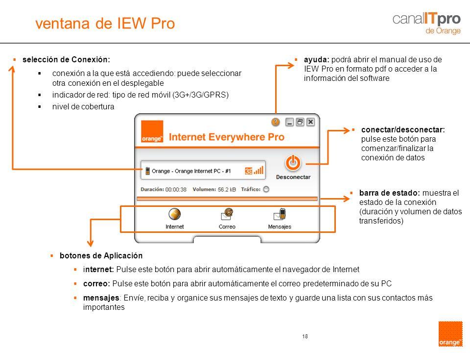 ventana de IEW Pro selección de Conexión: