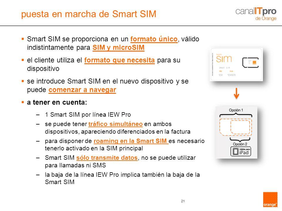 puesta en marcha de Smart SIM