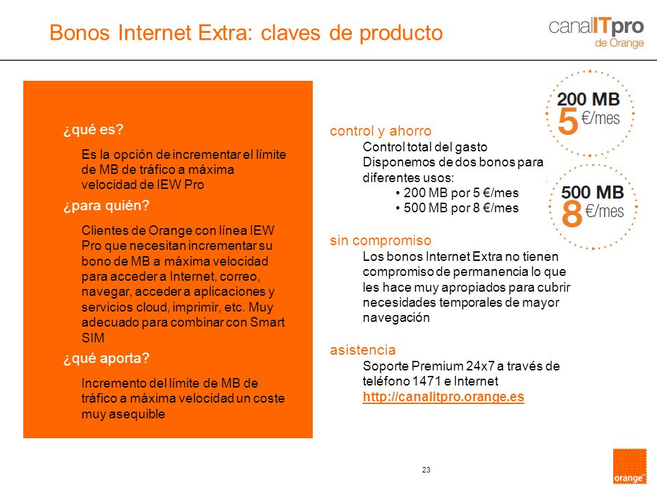 Bonos Internet Extra: claves de producto