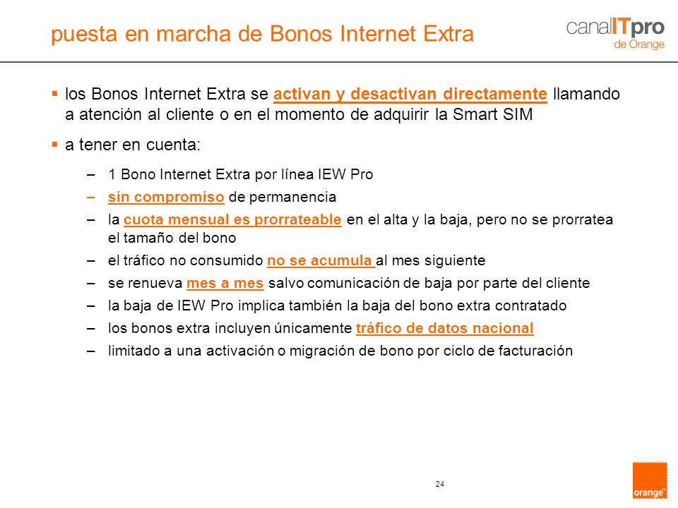 puesta en marcha de Bonos Internet Extra