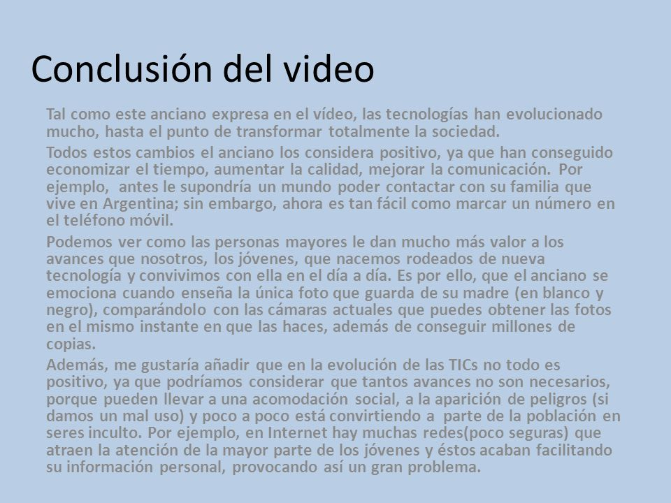 Conclusión del video