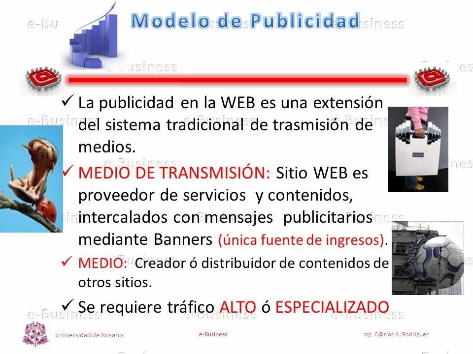 Modelo de Publicidad La publicidad en la WEB es una extensión del sistema tradicional de trasmisión de medios.