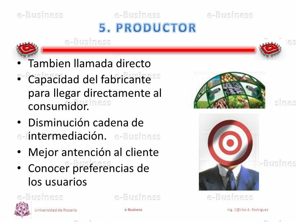 5. PRODUCTOR Tambien llamada directo