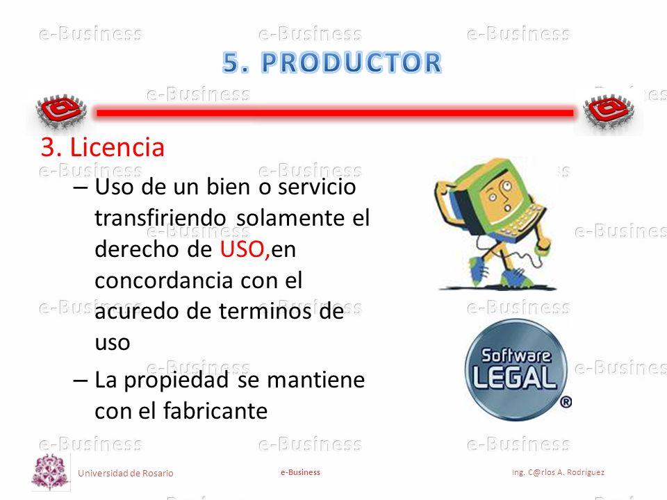 5. PRODUCTOR 3. Licencia. Uso de un bien o servicio transfiriendo solamente el derecho de USO,en concordancia con el acuredo de terminos de uso.