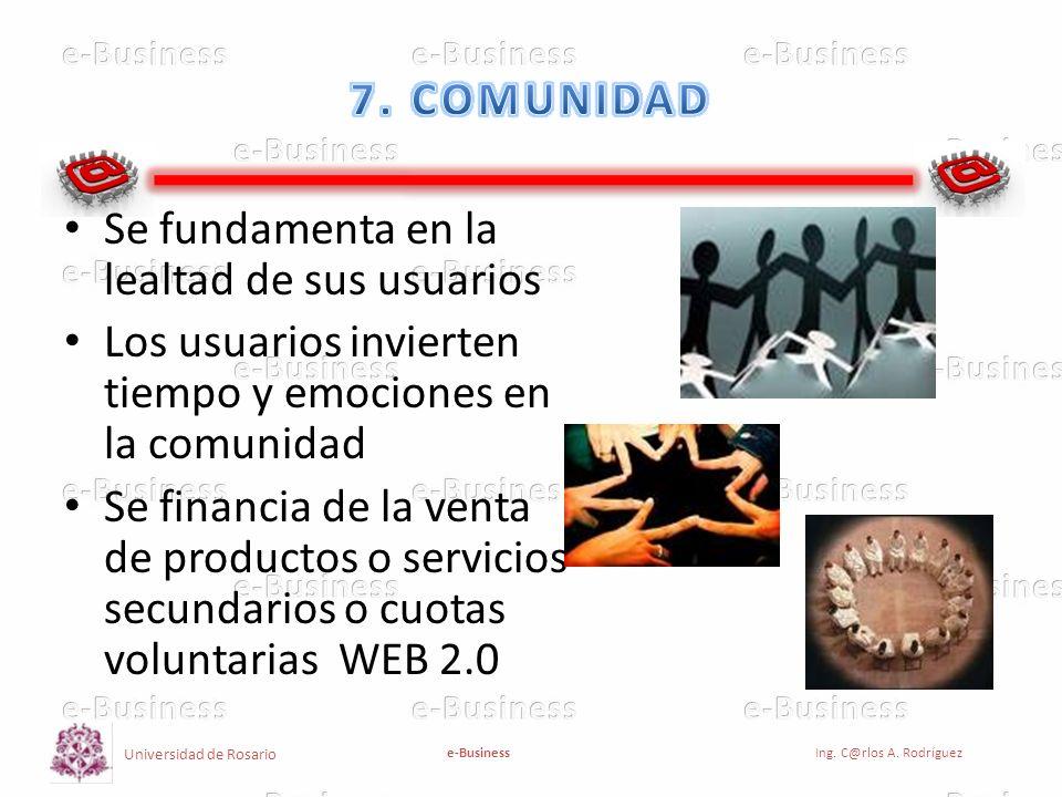 7. COMUNIDAD Se fundamenta en la lealtad de sus usuarios. Los usuarios invierten tiempo y emociones en la comunidad.