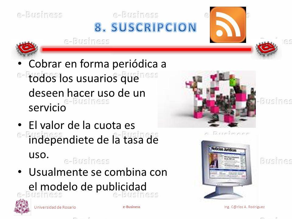8. SUSCRIPCION Cobrar en forma periódica a todos los usuarios que deseen hacer uso de un servicio.