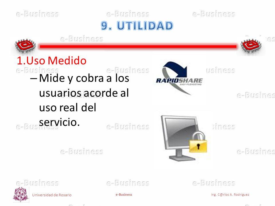 9. UTILIDAD 1.Uso Medido Mide y cobra a los usuarios acorde al uso real del servicio.
