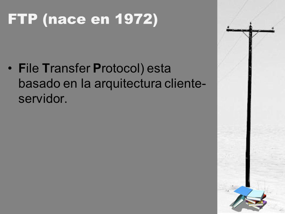 FTP (nace en 1972) File Transfer Protocol) esta basado en la arquitectura cliente-servidor.