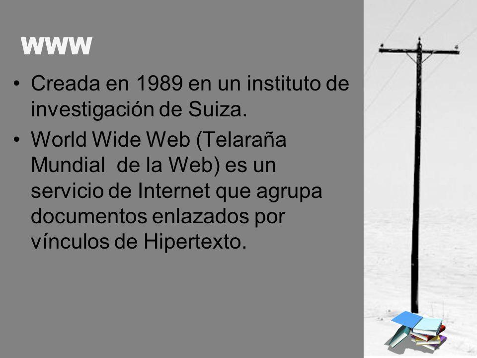 WWW Creada en 1989 en un instituto de investigación de Suiza.