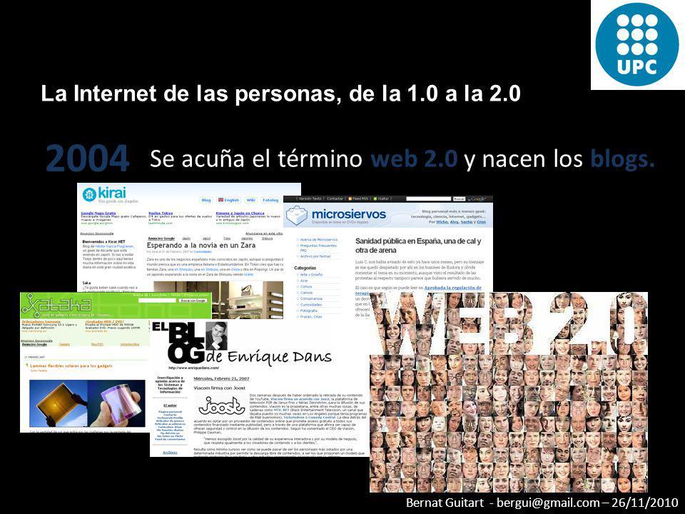 2004 Se acuña el término web 2.0 y nacen los blogs.