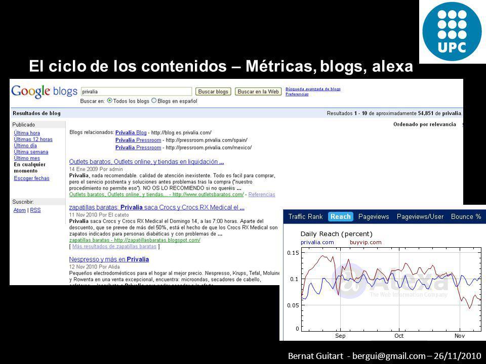 El ciclo de los contenidos – Métricas, blogs, alexa