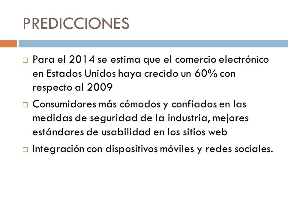 PREDICCIONES Para el 2014 se estima que el comercio electrónico en Estados Unidos haya crecido un 60% con respecto al 2009.