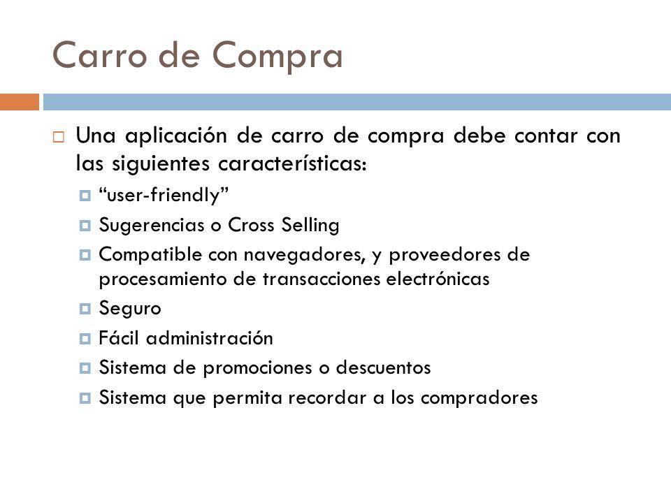 Carro de Compra Una aplicación de carro de compra debe contar con las siguientes características: user-friendly