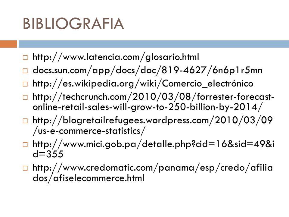 BIBLIOGRAFIA http://www.latencia.com/glosario.html