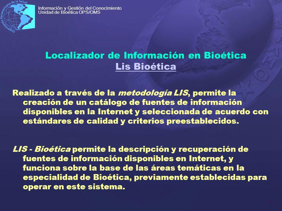 Localizador de Información en Bioética Lis Bioética