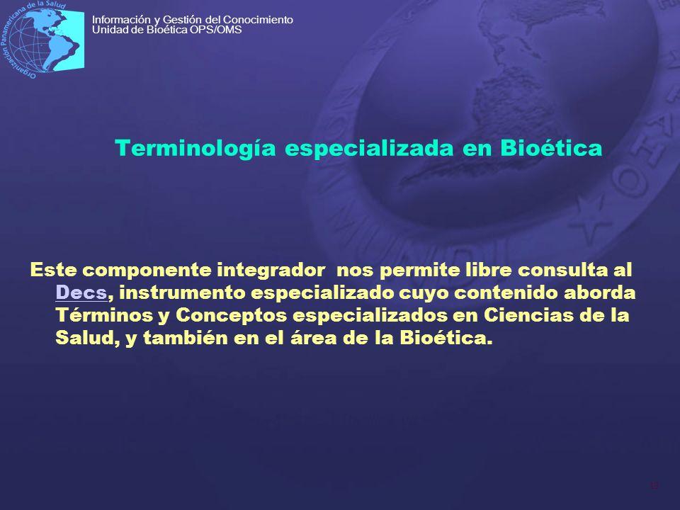 Terminología especializada en Bioética
