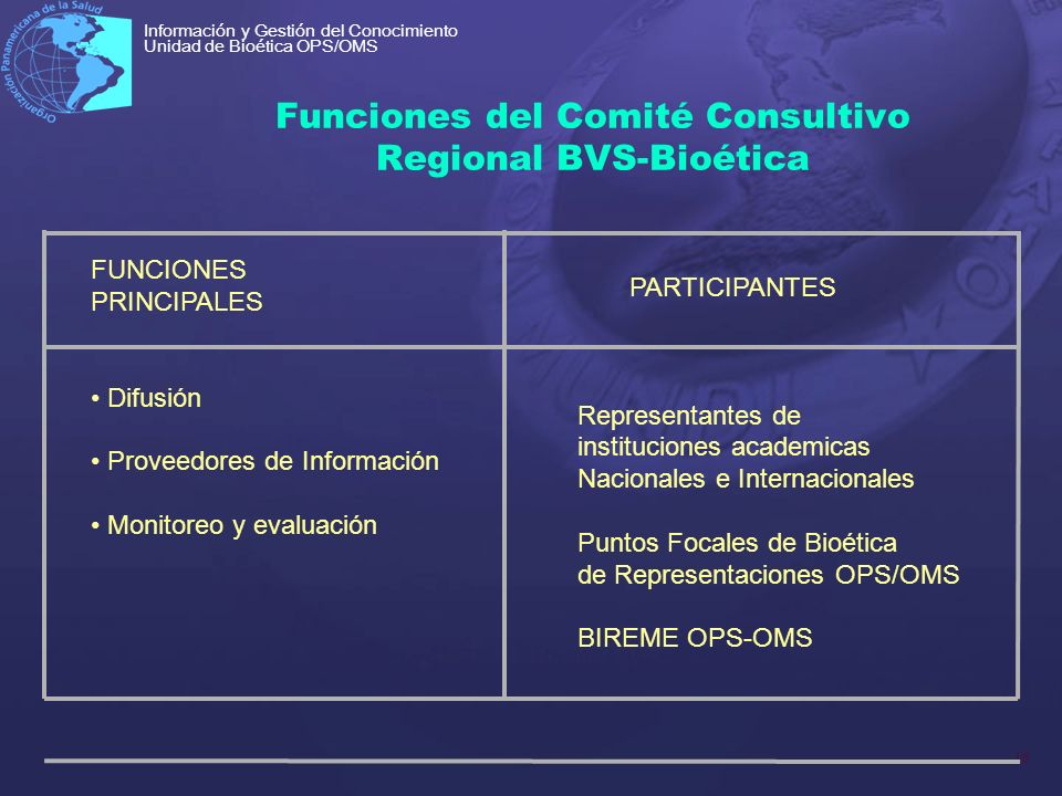 Funciones del Comité Consultivo Regional BVS-Bioética