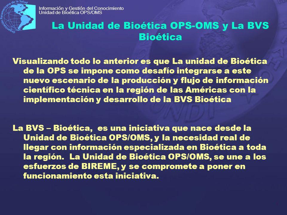 La Unidad de Bioética OPS-OMS y La BVS Bioética