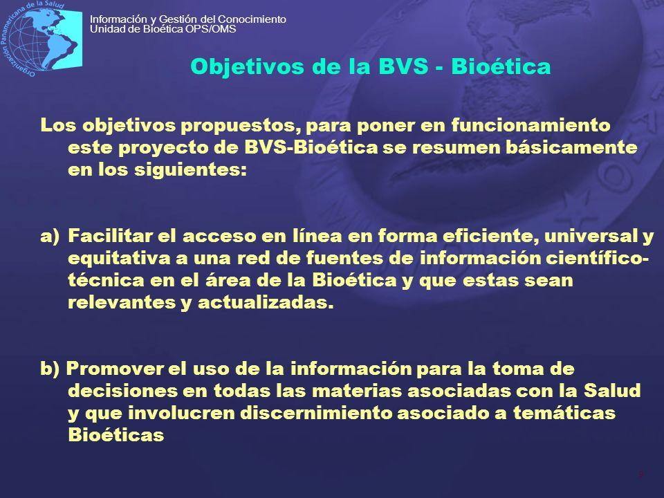 Objetivos de la BVS - Bioética