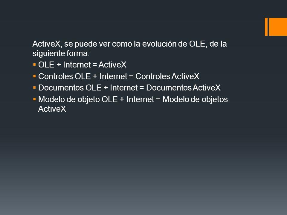 ActiveX, se puede ver como la evolución de OLE, de la siguiente forma: