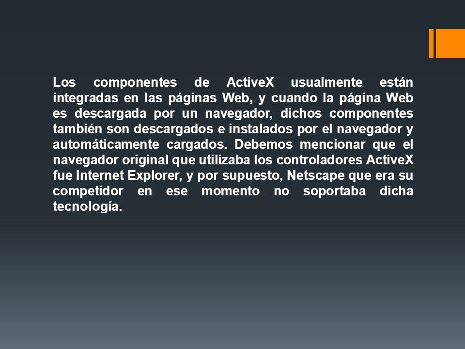 Los componentes de ActiveX usualmente están integradas en las páginas Web, y cuando la página Web es descargada por un navegador, dichos componentes también son descargados e instalados por el navegador y automáticamente cargados.