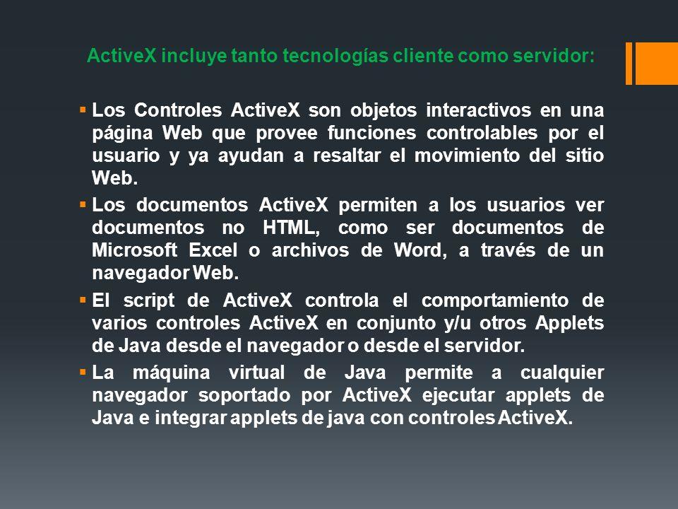 ActiveX incluye tanto tecnologías cliente como servidor: