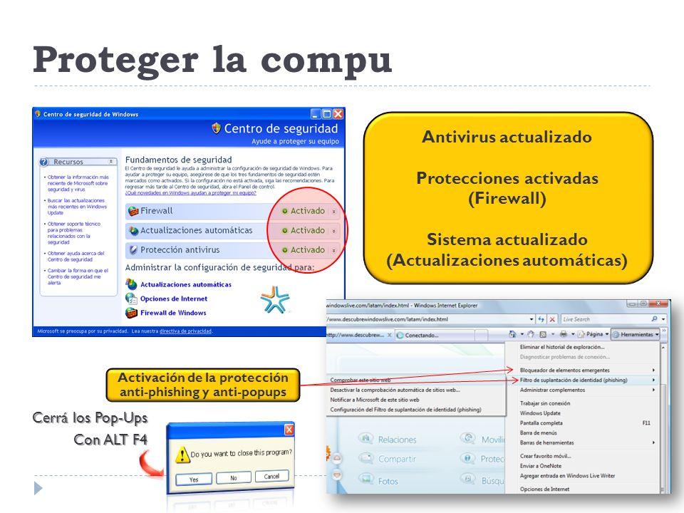 Proteger la compu Antivirus actualizado
