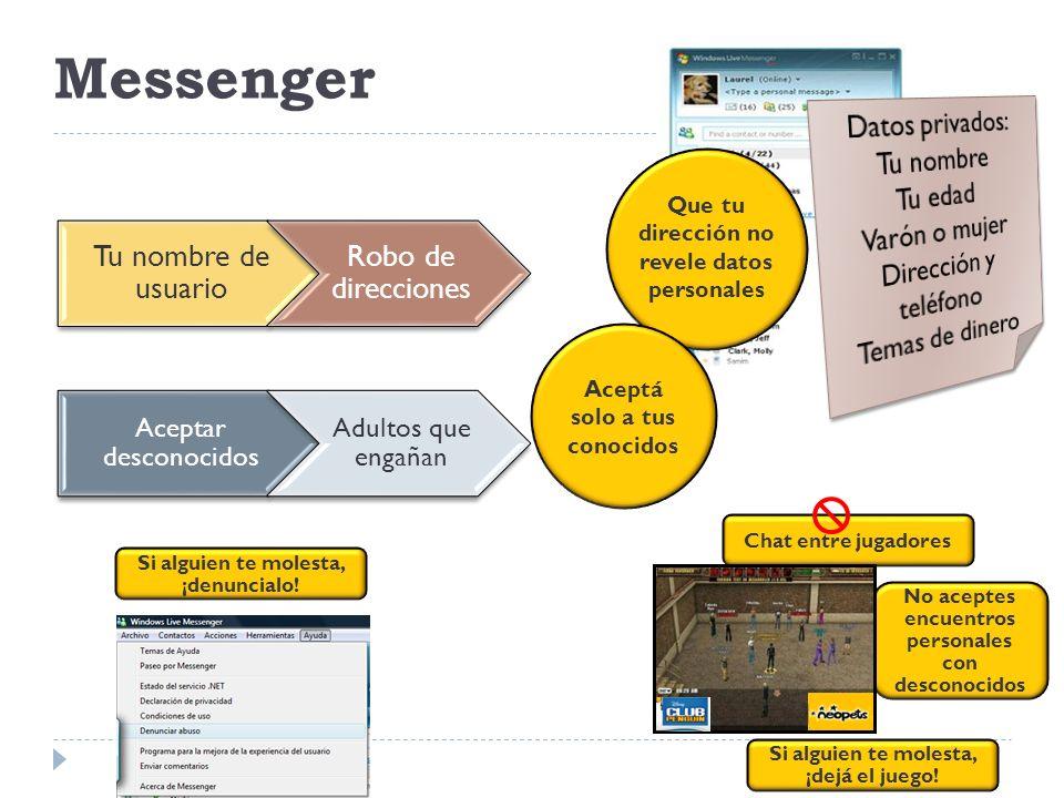 Messenger Tu nombre de usuario Robo de direcciones Datos privados: