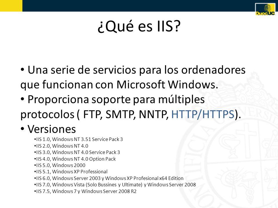 ¿Qué es IIS Una serie de servicios para los ordenadores que funcionan con Microsoft Windows.
