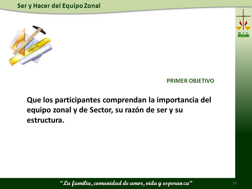 PRIMER OBJETIVO Que los participantes comprendan la importancia del equipo zonal y de Sector, su razón de ser y su estructura.