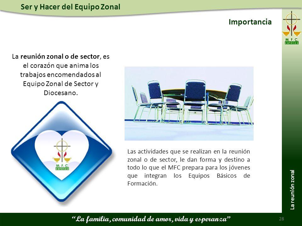 Importancia La reunión zonal o de sector, es el corazón que anima los trabajos encomendados al Equipo Zonal de Sector y Diocesano.