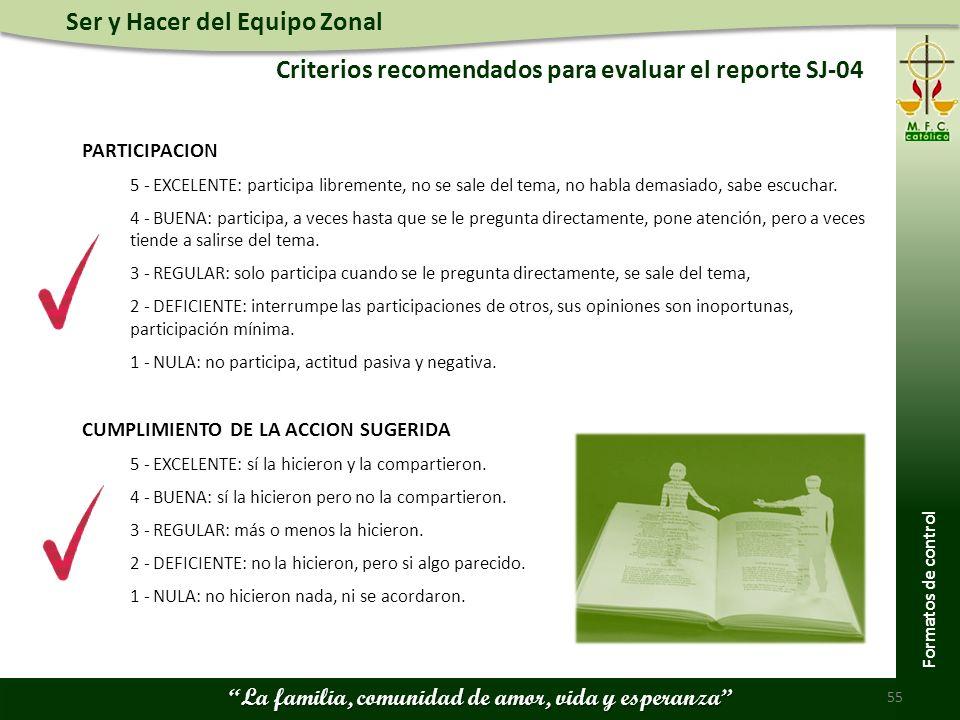 Criterios recomendados para evaluar el reporte SJ-04