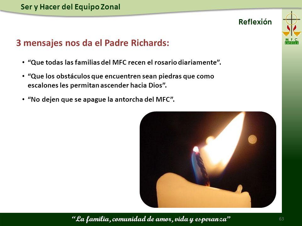 3 mensajes nos da el Padre Richards: