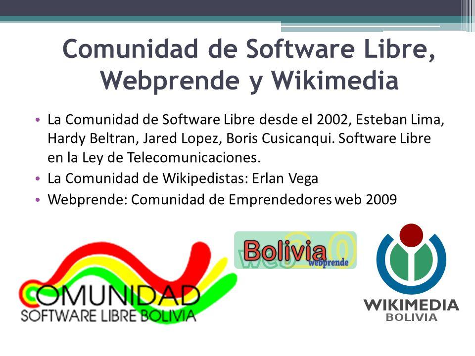 Comunidad de Software Libre, Webprende y Wikimedia