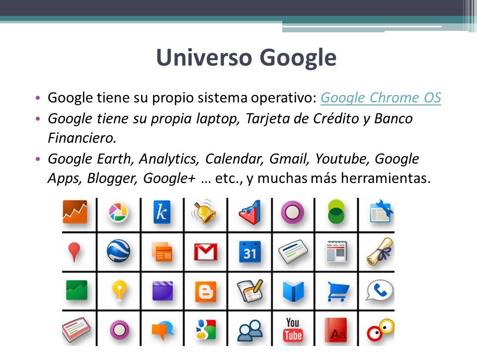 Universo Google Google tiene su propio sistema operativo: Google Chrome OS. Google tiene su propia laptop, Tarjeta de Crédito y Banco Financiero.