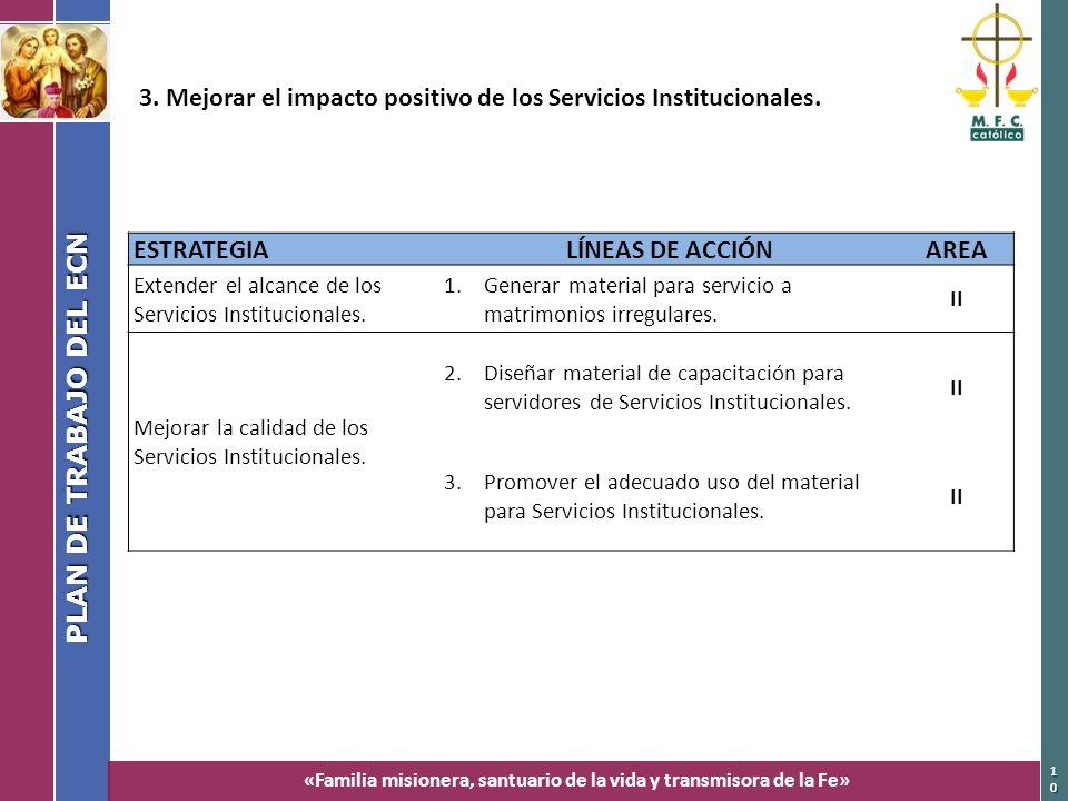 3. Mejorar el impacto positivo de los Servicios Institucionales.