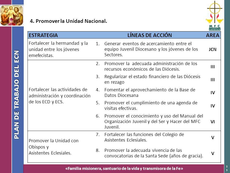 4. Promover la Unidad Nacional. ESTRATEGIA LÍNEAS DE ACCIÓN AREA