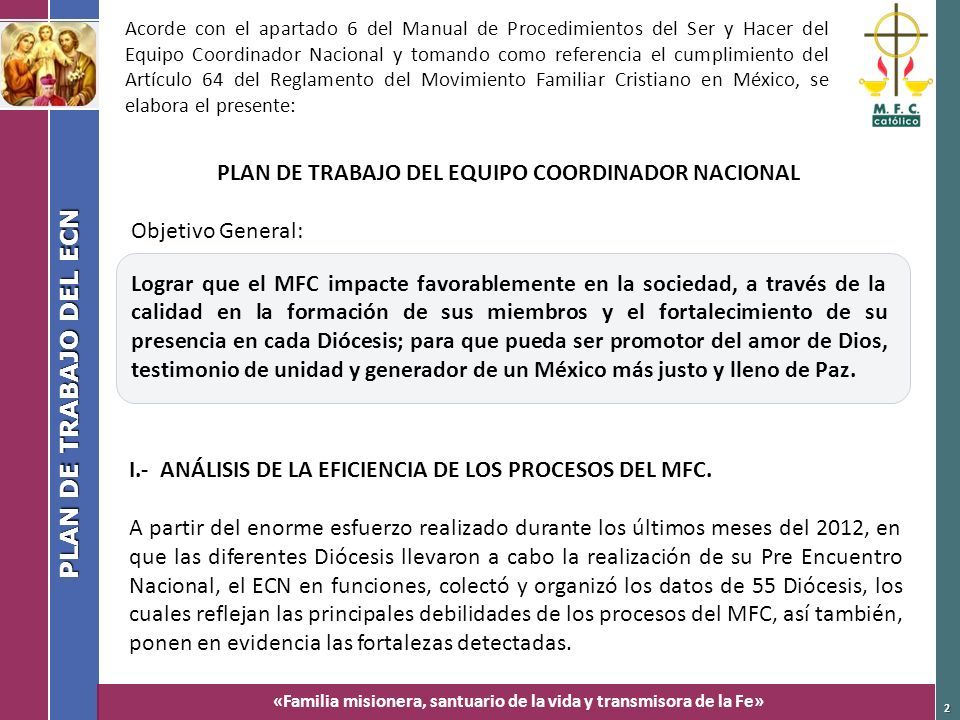 PLAN DE TRABAJO DEL EQUIPO COORDINADOR NACIONAL
