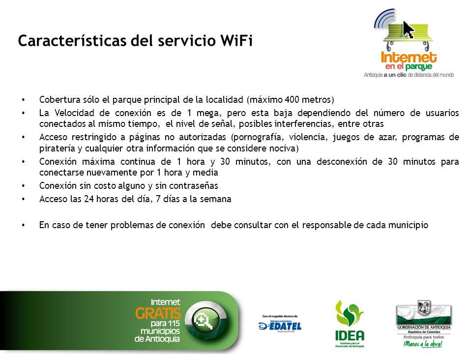 Características del servicio WiFi