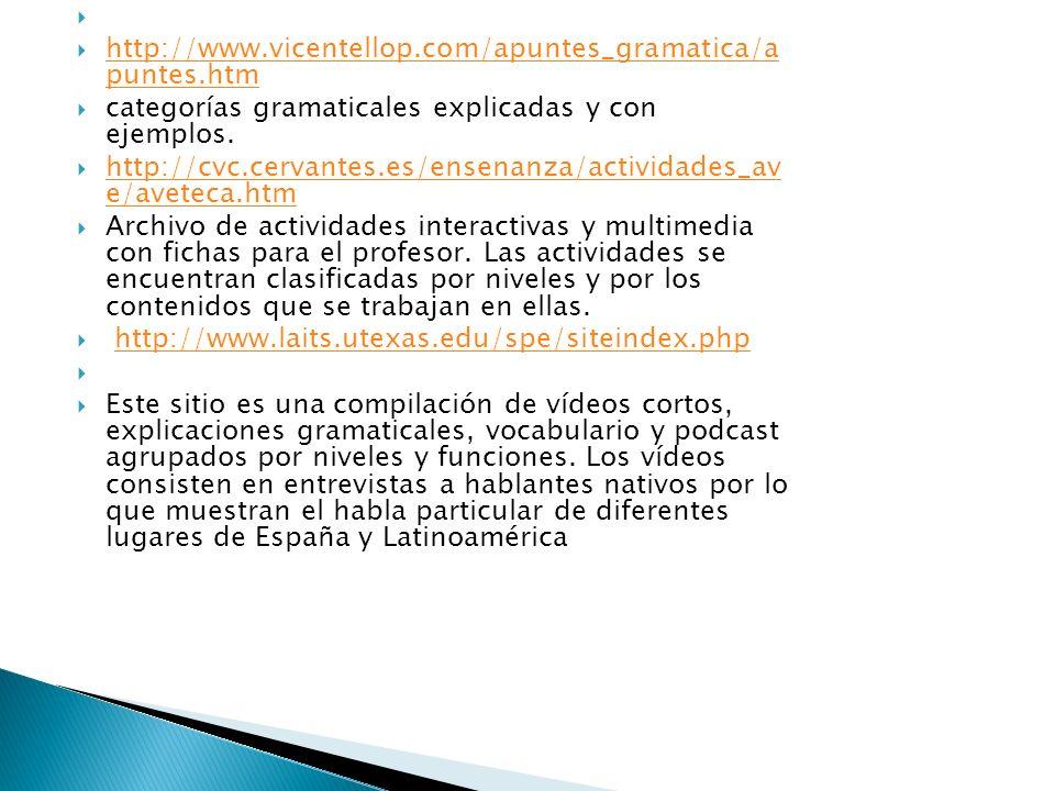 http://www.vicentellop.com/apuntes_gramatica/a puntes.htm. categorías gramaticales explicadas y con ejemplos.