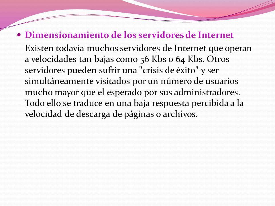 Dimensionamiento de los servidores de Internet
