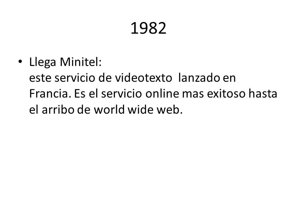 1982 Llega Minitel: este servicio de videotexto lanzado en Francia.