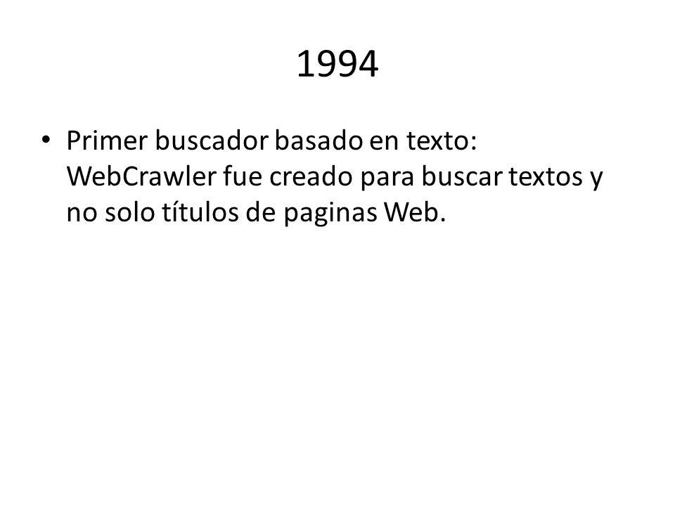 1994 Primer buscador basado en texto: WebCrawler fue creado para buscar textos y no solo títulos de paginas Web.