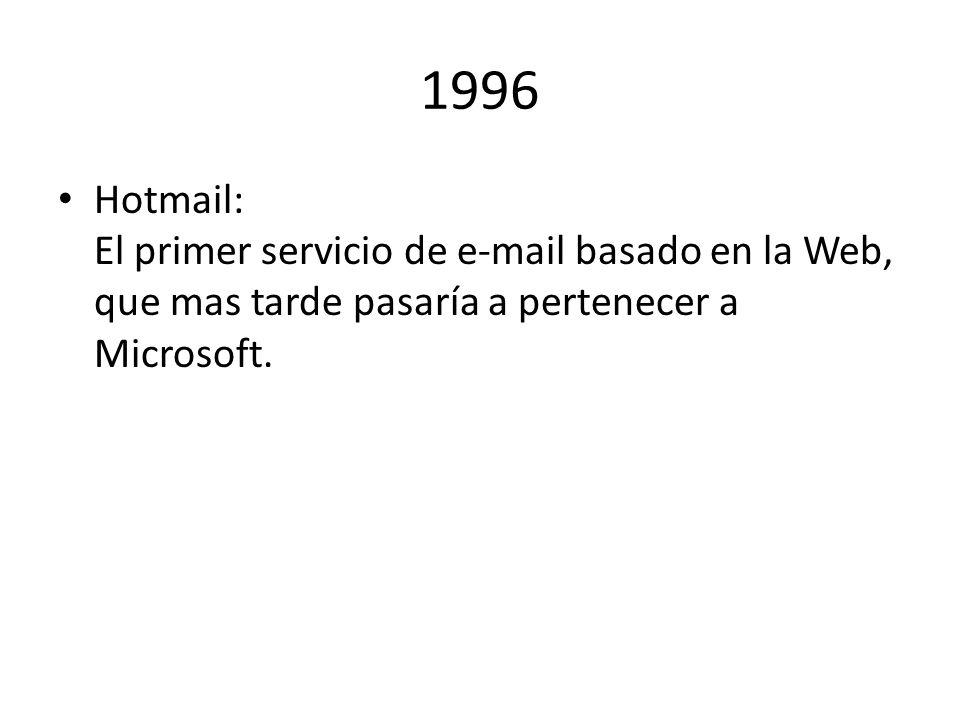 1996 Hotmail: El primer servicio de e-mail basado en la Web, que mas tarde pasaría a pertenecer a Microsoft.