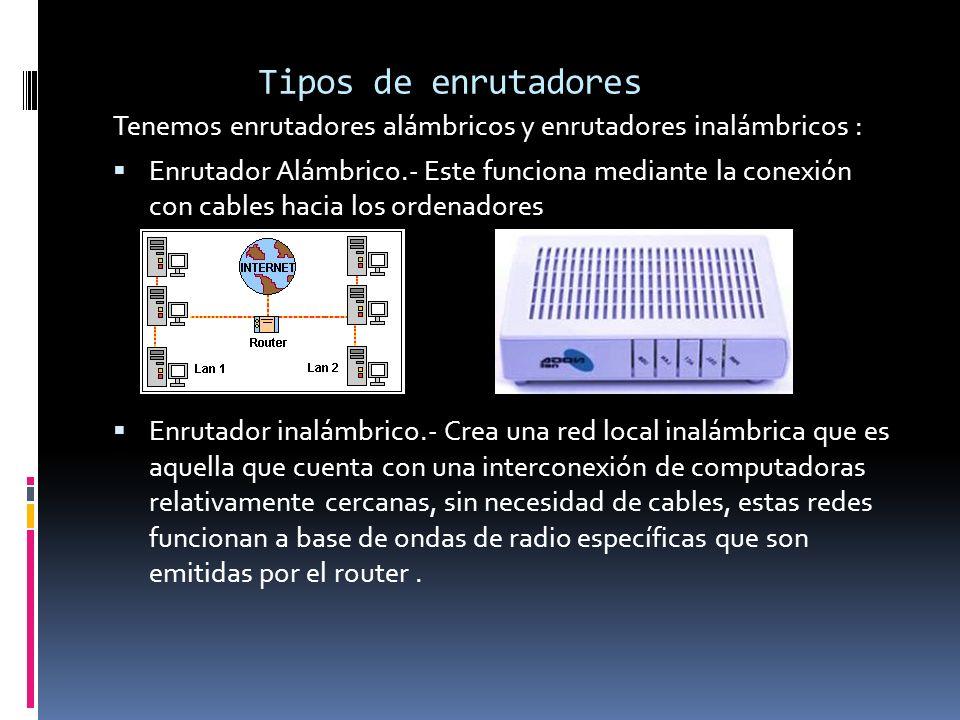 Tipos de enrutadoresTenemos enrutadores alámbricos y enrutadores inalámbricos :