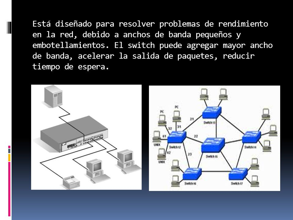 Está diseñado para resolver problemas de rendimiento en la red, debido a anchos de banda pequeños y embotellamientos.