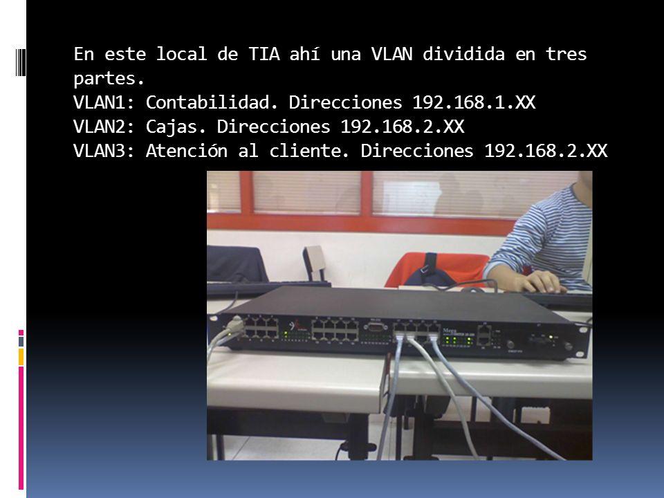 En este local de TIA ahí una VLAN dividida en tres partes
