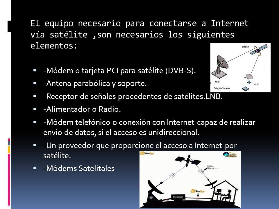 El equipo necesario para conectarse a Internet vía satélite ,son necesarios los siguientes elementos: